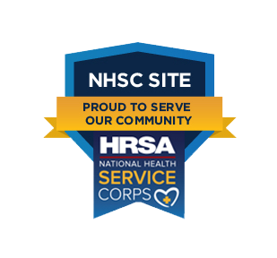 NHSC Site Proud to Serve Our Community HRSA National Health Service Corps Logo Badge